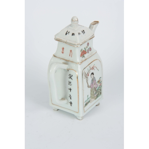 152 - A 19th CENTURY CHINESE FAMILLE ROSE PORCELAIN TEAPOT the body with painted panels depicting oriental...