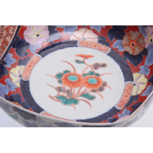 166 - A JAPANESE MEIJI PERIOD FUKUGAWA SQUARE SHAPED BOWL decorated with panelled sections - signed undern...