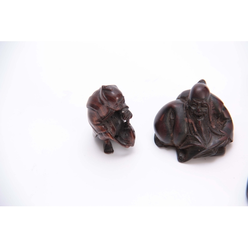 177 - A COLLECTION OF FOUR EARLY 20th CENTURY NETSUKE sculptured as various animals and figures, three wit...