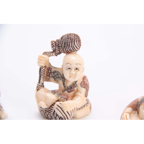 190 - A COLLECTION OF FOUR EARLY 20th CENTURY IVORY NETSUKE sculptured as various figures all with charact...