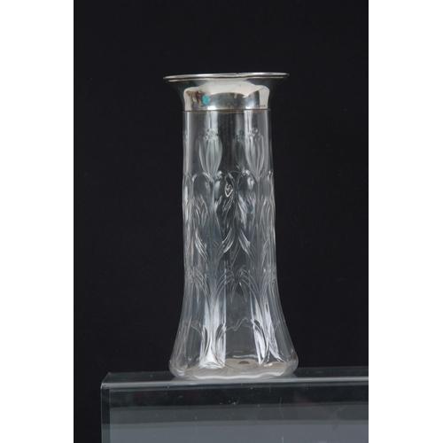 21 - AN EARLY 20TH CENTURY SILVER MOUNTED ART NOUVEAU CUT GLASS VASE hallmarked for Birmingham 1911, havi...