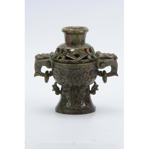 217 - A LARGE STRIATED SPANISH GREEN JADE CHINESE KORO with scrolled leaf carved body, tapering foot and r...