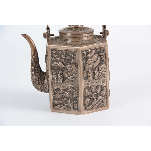 220 - AN UNUSUAL LATE 19TH CENTURY HEXAGONAL SHAPED CHINESE SILVER TEAPOT with split flat top handle above...