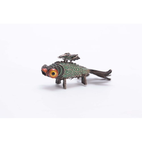 223 - A LATE 19TH EARLY 20TH CENTURY JAPANESE  ARTICULATED SILVER METAL AND COLOURED ENAMEL MODEL OF FISH ...