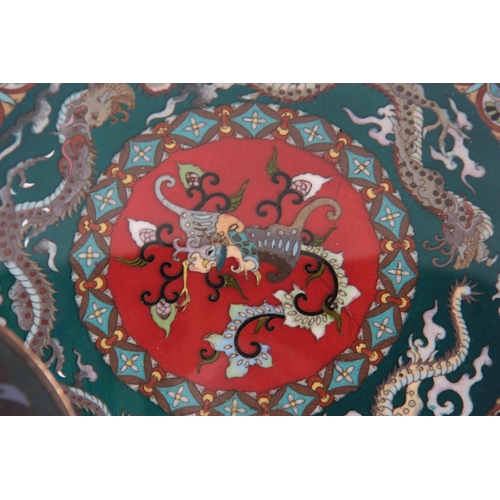 230 - A CHINESE CLOISONNE ENAMEL SHALLOW DISH with dragon work border and centre panel 24cm diameter and A...