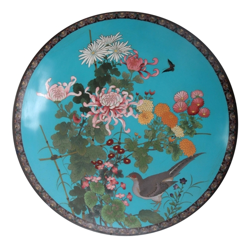 231 - A LARGE LATE 19th CENTURY JAPANESE CLOISONNE CHARGER having a blue ground with bird and butterfly on...