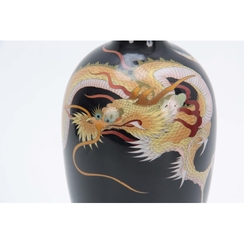 232 - A MEIJI PERIOD JAPANESE CLOISONNE VASE having a dark blue ground decorated with entwined dragon 24cm...