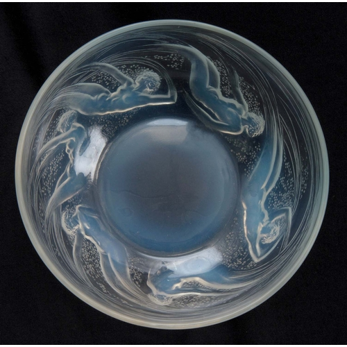 29 - AN R, LALIQUE ONDINES GLASS BOWL with a band of nude ladies, signed with impressed mark R. Lalique 2...
