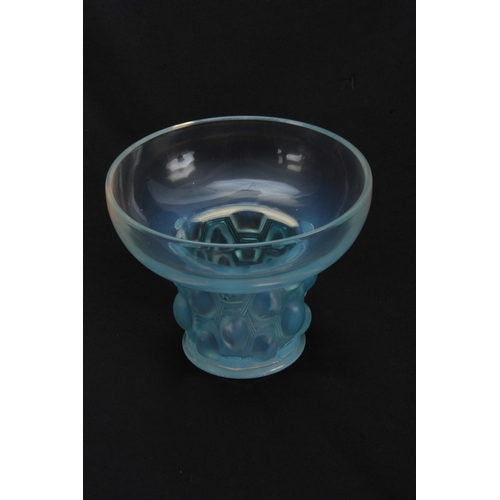 39 - A R LALIQUE BEUTRELLIS GLASS OPALESCENT VASE WITH BLUE STAINING having a dished top and narrow base ...