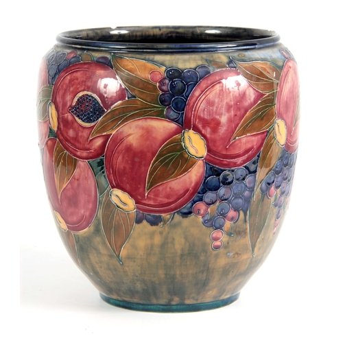 43 - A 20TH CENTURY MOORCROFT  JARDINIERE decorated with pomegranates and grapes bearing green signature ...