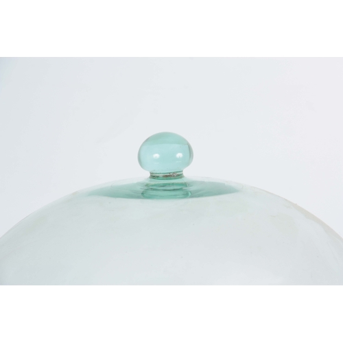 5 - A LARGE LATE 19TH CENTURY DOMED GLASS CLOCHE with glass ball handle 37cm high 31cm diameter...