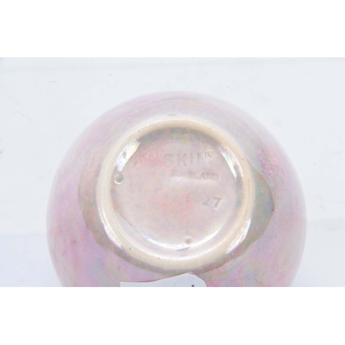 60 - AN EARLY 20TH CENTURY RUSKIN POTTERY PINK LUSTRE PIERCED MINATURE GINGER JAR AND COVER impressed mar...