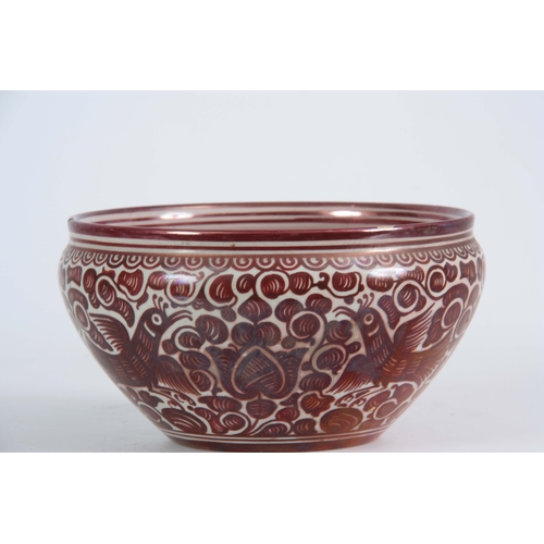 61 - A 20TH CENTURY CANTEGALI RUBY LUSTRE BOWL decorated with birds, bearing painted cockerel mark 11cm h...