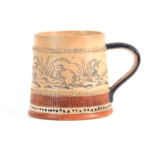70 - A LATE 19TH CENTURY ROYAL DOULTON STYLE MUG IN THE MANNER OF HANNAH BARLOW decorated with Cat and Ra...