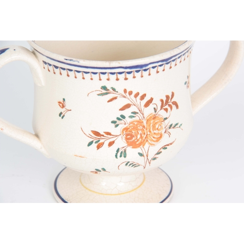 71 - AN EARLY 19TH CENTURY STAFFORDSHIRE TWO-HANDLED PRESENTATION FROG MUG inscribed