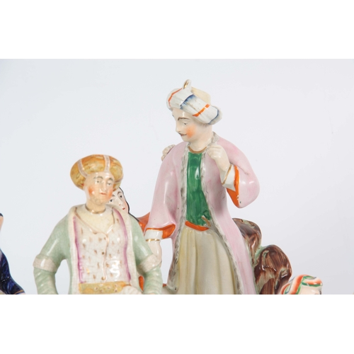 97 - A SELECTION OF FOUR 19TH CENTURY STAFFORDSHIRE FIGURES comprising  Turkish scenes, one of musicians ...