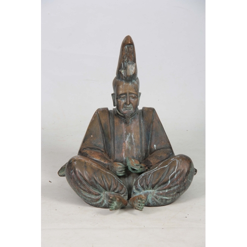 243 - AN ORIENTAL BRONZE SEATED BUDDHA OF LARGE SIZE 57cm high....