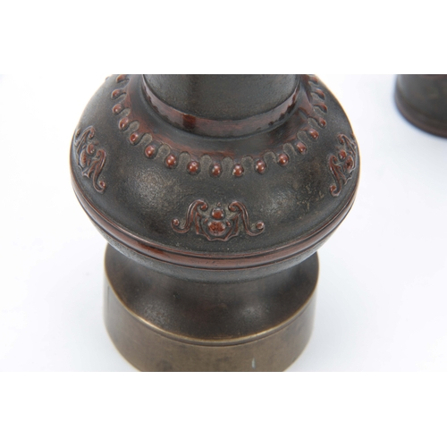 247 - A PAIR OF LATE 19th CENTURY CHINESE OPIUM PIPES modelled as a pair of vases with character marks and...