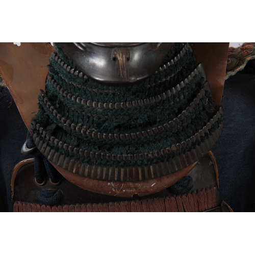 252 - A 19TH CENTURY COMPLETE SET OF JAPANESE SAMURAI ARMOUR with KABUTO helmet and MEMPO face mask presen...