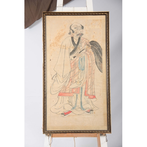 255 - AN 18/19TH CENTURY CHINESE WATERCOLOUR DRAWING of a robed standing figure 105by55.5cm - glazed gilt ...