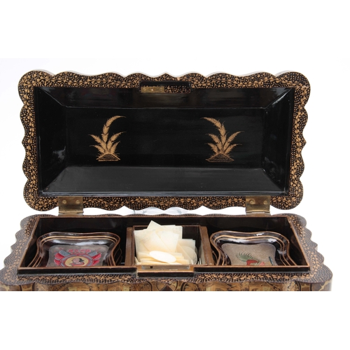 271 - A 19TH CENTURY CHINESE EXPORT LACQUERED GAMES BOX finely decorated with figural panels surrounded by...