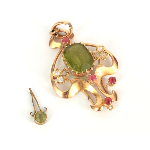 307 - A LADIES EDWARDIAN 15CT GOLD PENDANT set with green Peridot, pink Spinel and Diamonds, 54mm high, ap...