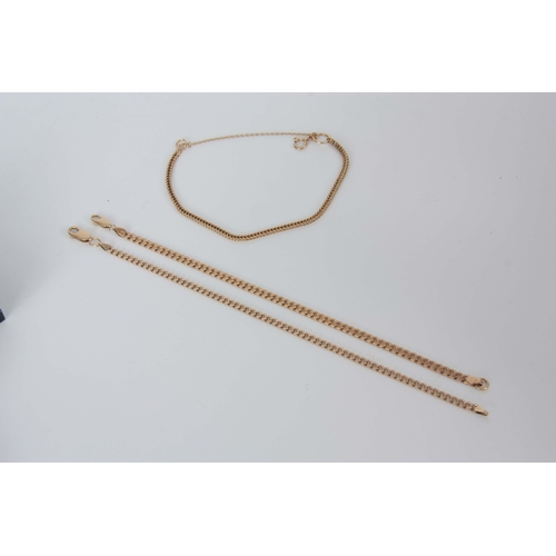 323 - A COLLECTION OF THREE LADIES 9CT BRACELETS the longest measuring 21.5cm long, app.6.6g, the second m...