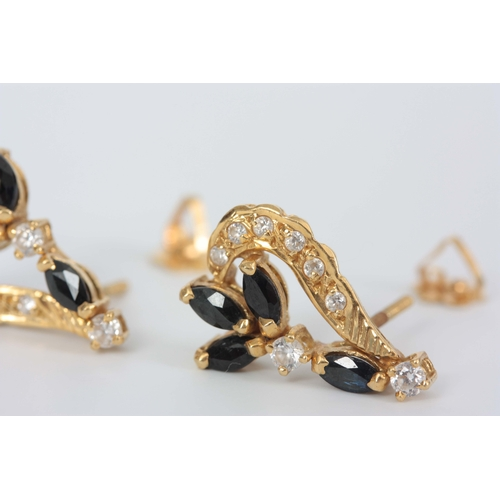 347 - A PAIR OF LADIES 18CT GOLD SAPPHIRE AND DIAMOND EARRINGS having eight diamonds and four sapphires in...