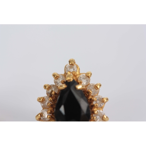 352 - A PAIR OF LADIES 18CT GOLD SAPPHIRE AND DIAMOND SET EARRINGS with screw backs 15mm high app. 4g...