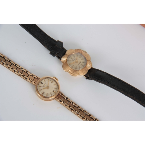 356 - A LADIES VINTAGE 9CT GOLD LONGINES WRIST WATCH on a 9ct gold bracelet having a champagne dial with b...