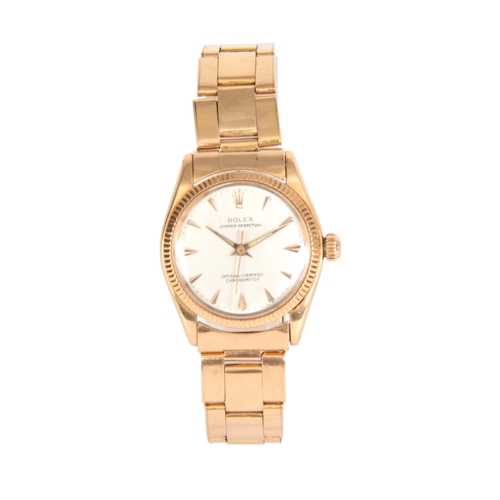 358 - A 1950's MID-SIZE 18CT ROSE GOLD ROLEX OYSTER PERPETUAL WRIST WATCH on 18ct rose gold oyster bracele...