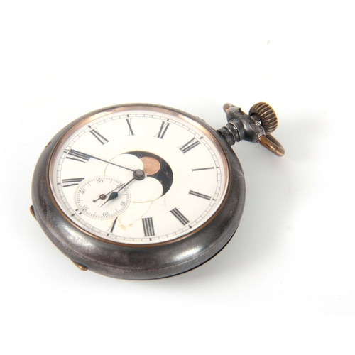 368 - A LATE 19th CENTURY SWISS DOUBLE DIAL POCKET WATCH the gunmetal case enclosing an enamel dial with m...