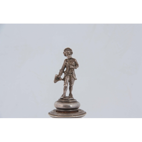 397 - A LATE 19th CENTURY CONTINENTAL SILVER AND ETCHED GLASS DECANTER WITH FIGURAL STOPPER of ovoid shape...