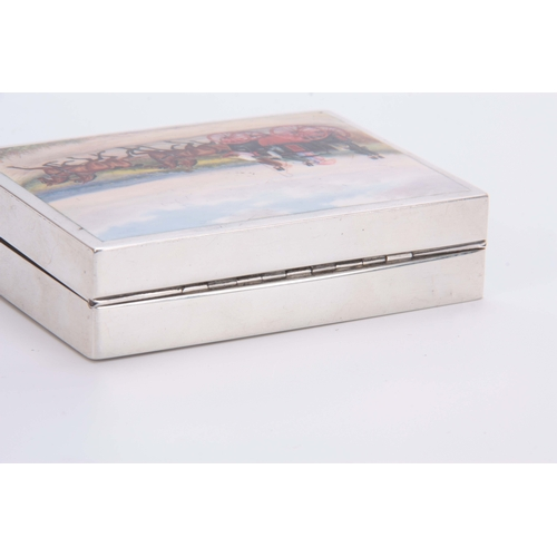 407 - A LATE 19th CENTURY SILVER AND ENAMEL BOX having an enamel coaching scene to the hinged lid opening ...