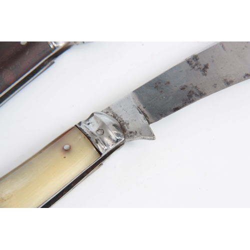 418 - TWO EARLY 20TH CENTURY PRUNING KNIVES both by W. Saynor, Sheffield having blonde horn and hardwood h...