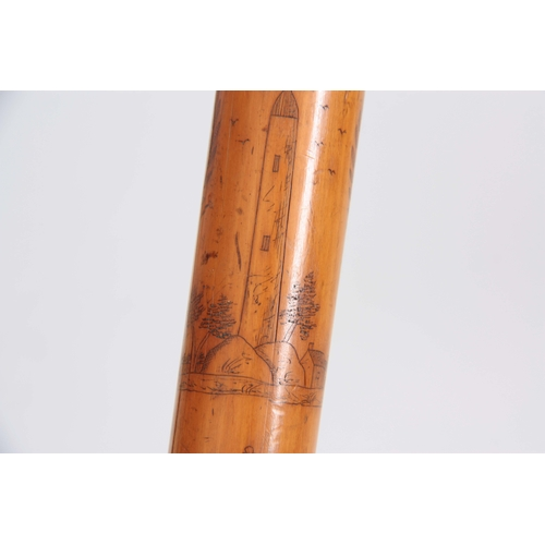 458 - A MID 19th CENTURY IRISH FOLK ART WALKING CANE the stick finely engraved all over with various anima...