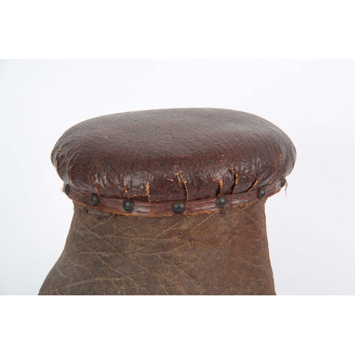 478 - A LATE 19th CENTURY TAXIDERMY ELEPHANTS FOOT  FORMED AS A STOOL - 22cm high...