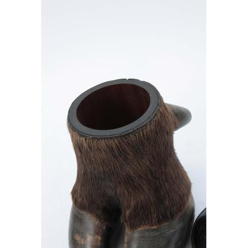 480 - A LATE 19th CENTURY TAXIDERMY BUFFALO FOOT formed as a lidded jar with ebonized domed lid 18cm high...