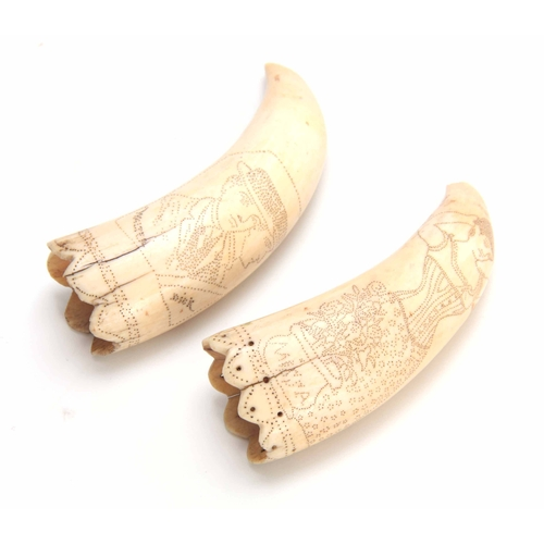 487 - A PAIR OF 19TH CENTURY ENGRAVED SCRIMSHAW WORK TUSKS depicting figure panels inscribed WALTER, DICK ...