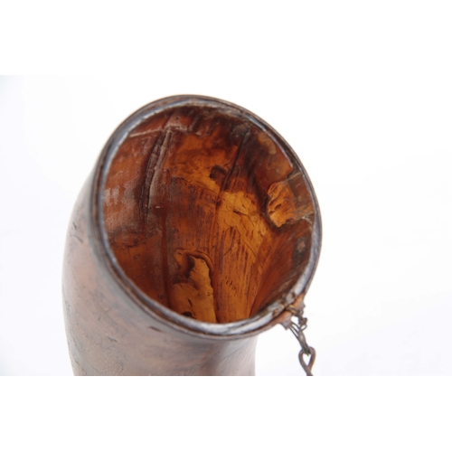 491 - AN 18th CENTURY SCRIMSHAW HORN FLASK with ironwork rims and engraved people, animals and flowers 24c...