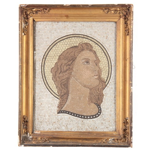 545 - AN EARLY 19TH CENTURY MOSIAC PORTRAIT OF A YOUNG LADY - mounted in a gilt frame 39cm high 30cm wide....