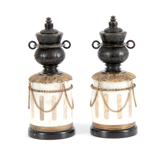 546 - A PAIR 19TH CENTURY FRENCH INLAID WHITE MARBLE, ORMOLU MOUNTED AND BRONZE URN SHAPED SIDE PIECES WIT...