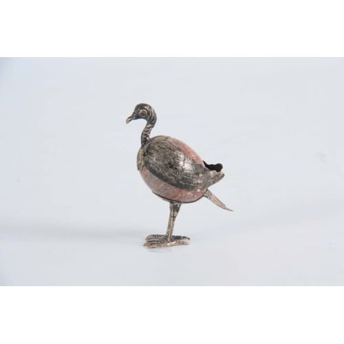548 - A STRIATED PINK AGATE AND SILVER MOUNTED STANDING EXOTIC BIRD 6.5cms high...