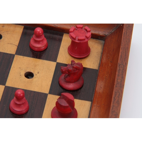 562 - A LATE 19th CENTURY JAQUES, LONDON TRAVELLING 'IN STATU QUO' TRAVELLING CHESS SET the folding mahoga...