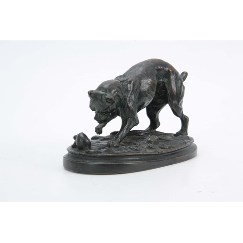 563 - AFTER ANTOINE LOUIS BARYE. LATE 19th CENTURY PATINATED BRONZE SCULPTURE modelled as a dog and mouse,...