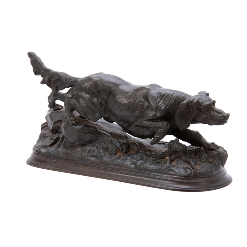 564 - JULES MOIGNIEZ (1835-1894, FRANCE), A 19TH CENTURY BRONZE SCULPTURE OF SPANIEL DOG mounted on a natu...