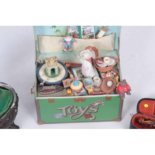 565 - A LOT OF SIX ITEMS including a musical toy box, an inlaid music box, a Sorrento ware box, miniature ...