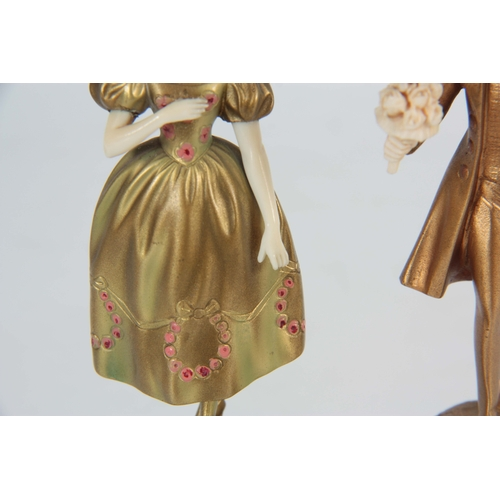 573 - FERDINAND PREISS (1882-1943). AN EARLY 20TH CENTURY PAIR OF SMALL IVORY AND PAINTED BRONZE SCULPTURE...