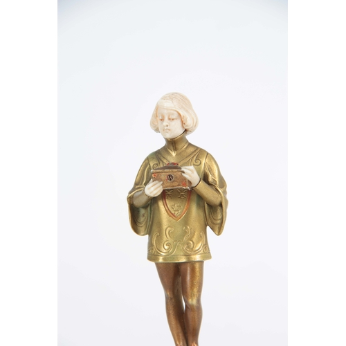 575 - FERDINAND PREISS (1882-1943). AN EARLY 20TH CENTURY BRONZE AND IVORY FIGURE OF SMALL SIZE depicting ...