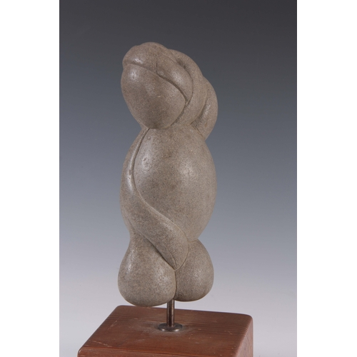 592 - A MODERNIST STONE SCULPTURE mounted on a wooden base - signed 35cm high....